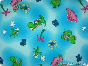 Cotton print, multicoloured with dinos, blue, 140cm