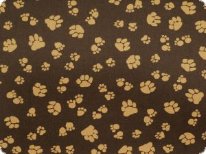 Children fabric,animal paws,dark brown, 140cm
