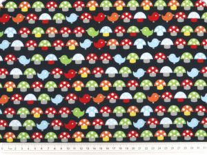 Children fabric, mushrooms, navy-multicolour, 140cm