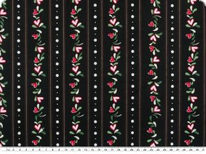 Cotton print,  hearts and flowers,black-multicolour, 140cm