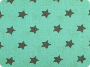 Cotton print with stars, petrol on turquoise, 140cm