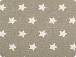 Cotton print with stars, beige on grey, 140cm