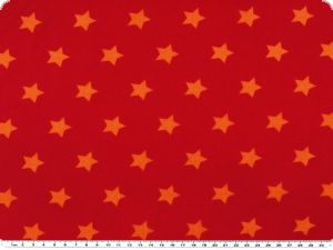 Cotton print with stars, orange on red,  140cm