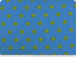 Cotton print with stars, green on blue, 140cm