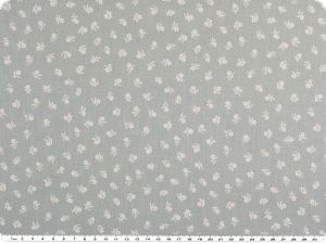 Cotton print, small flowers, light grey- white, 145cm