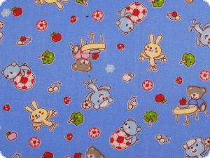 Children fabric, cotton, rabbits and bears, light blue 150cm