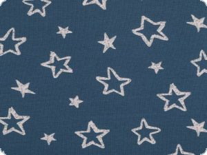 Cotton jersey for children, stars, jeans blue- white, 150cm