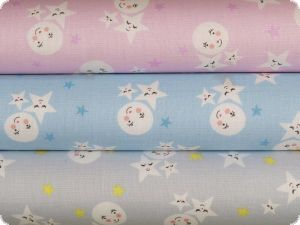 Cotton children fabric, moon and stars, light grey, 145cm