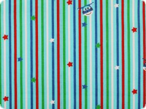 Children fine twill, stripes-stars, light blue, 150cm