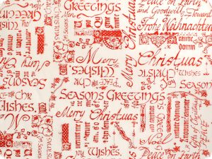 Organza fabric with foil print, white-red, 144cm
