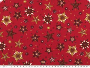 Cotton christmas fabric, stars, red-gold, 140cm