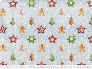 Deco fabric, christmas, sweet biscuits, blue-red-green 140cm