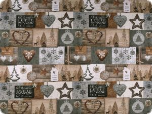 Deco fabric, christmas motives, patch, grey-brown, 140cm