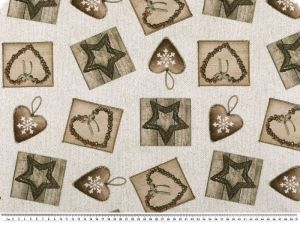 Digital  deco fabric, hearts and stars, ecru-brown, 140cm