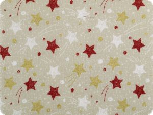Christmas fabric, goldprint, stars, ecru-gold, 140cm