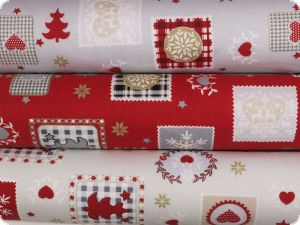 Christmas fabric, various motifs, pebble-red, 140cm