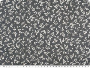 Cotton-polyester fabric, small flowers, jeans blue, 140cm