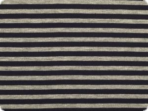 Cotton jersey, small stripes, grey-navy, 150cm