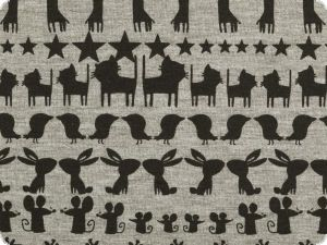 Jersey, blended fabric, animals, grey-black, 150cm