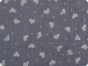 Star print, ajour, hole pattern, jeans blue, 145cm