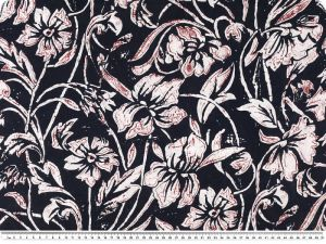 Cotton voile, print, flowers and leafs, navy, 142 cm