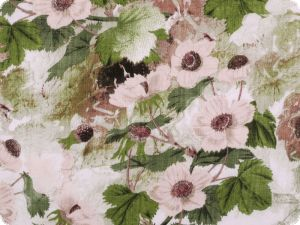 Cotton volie, water lilies, brown-pink, 142cm