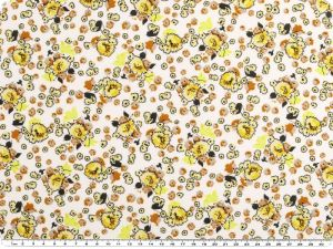 Flower print,  small flowers, white-yellow, 145cm