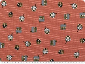 Nice cotton print,  dots and huts, salmon pink,  142-145cm