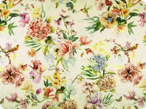 Deco fabric, flower print, ecru-multicolour, 140cm