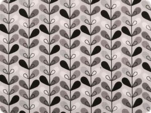 Printed cotton fabric, flowers, grey-black-white, 160cm