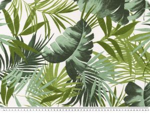 Deco fabric, leafs, white-green, 140cm