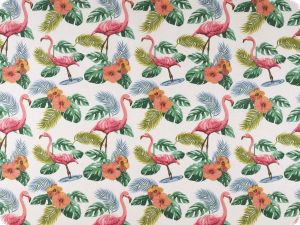 Deco fabric, flamingos , white-rose pink, 140cm