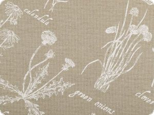 Deco fabric, herbs and plants, sand, 140cm
