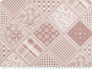 Deco fabric, flower-checks-patch, pigeon blue-white, 140cm