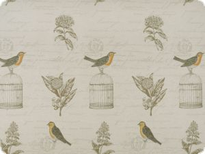 Jacquard deco fabric, birds and flowers, multicolour, 140cm
