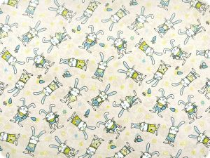 Deco fabric for children, funny rabbits, ecru-aqua, 140cm
