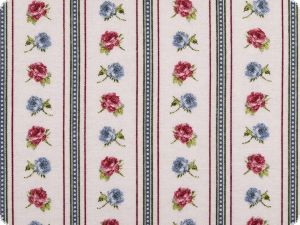 Decoration fabric, roses-stripes, ecru-jeans-raspberry,140cm