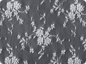 Net fabric with flowers, white, 135-140cm