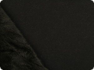Fashionable jersey with fur reverse side, black, 150cm