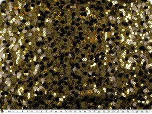 Foil-jersey with sequins, black-gold, 130cm