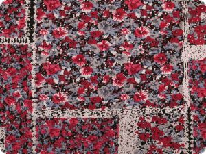 Viscose jersey,  small flowers, patch, red-grey, 150cm