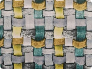 Tracery, matt glossy finish, turquoise-yellow-grey, 145cm