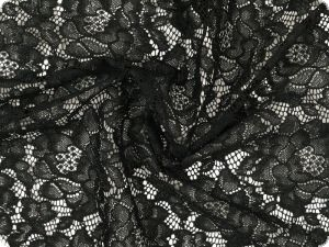 Lace with flowers, both-sided scallop, black, ca. 130cm