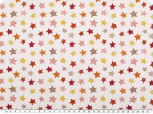 Digital cotton print, stars, white-multicolour, 150cm