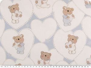 Digital  cotton-poplin, bear with heart, white-blue, 150cm