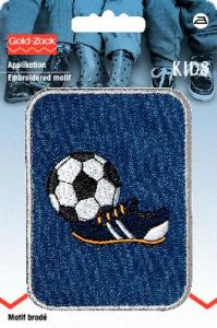 Embroidered motif, football, black and white on blue