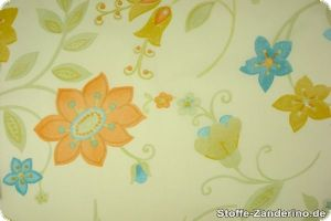 Extra broad fabric, flower motifs, multicoloured, 270cm
