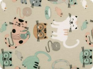 Decoration fabric, smiley cats, ecru-multicolor, 140cm