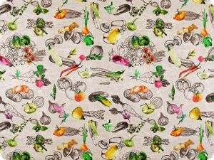 Deco fabric ,  loneta,  various vegetables, 140cm