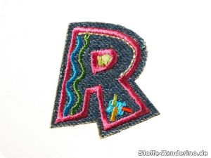 Funny jeans letters : R, fusible